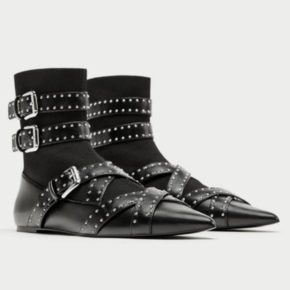 Nwob Zara 38 Buckle Sock Ballet Flats